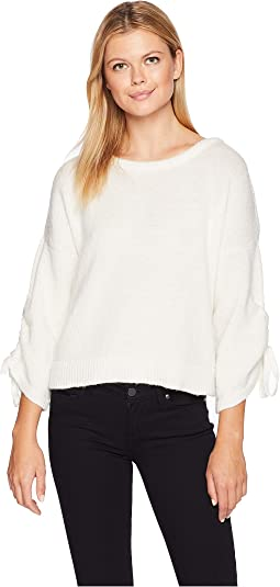 Long Sleeve Cropped Boat Neck w/ Gathered Sleeves Top