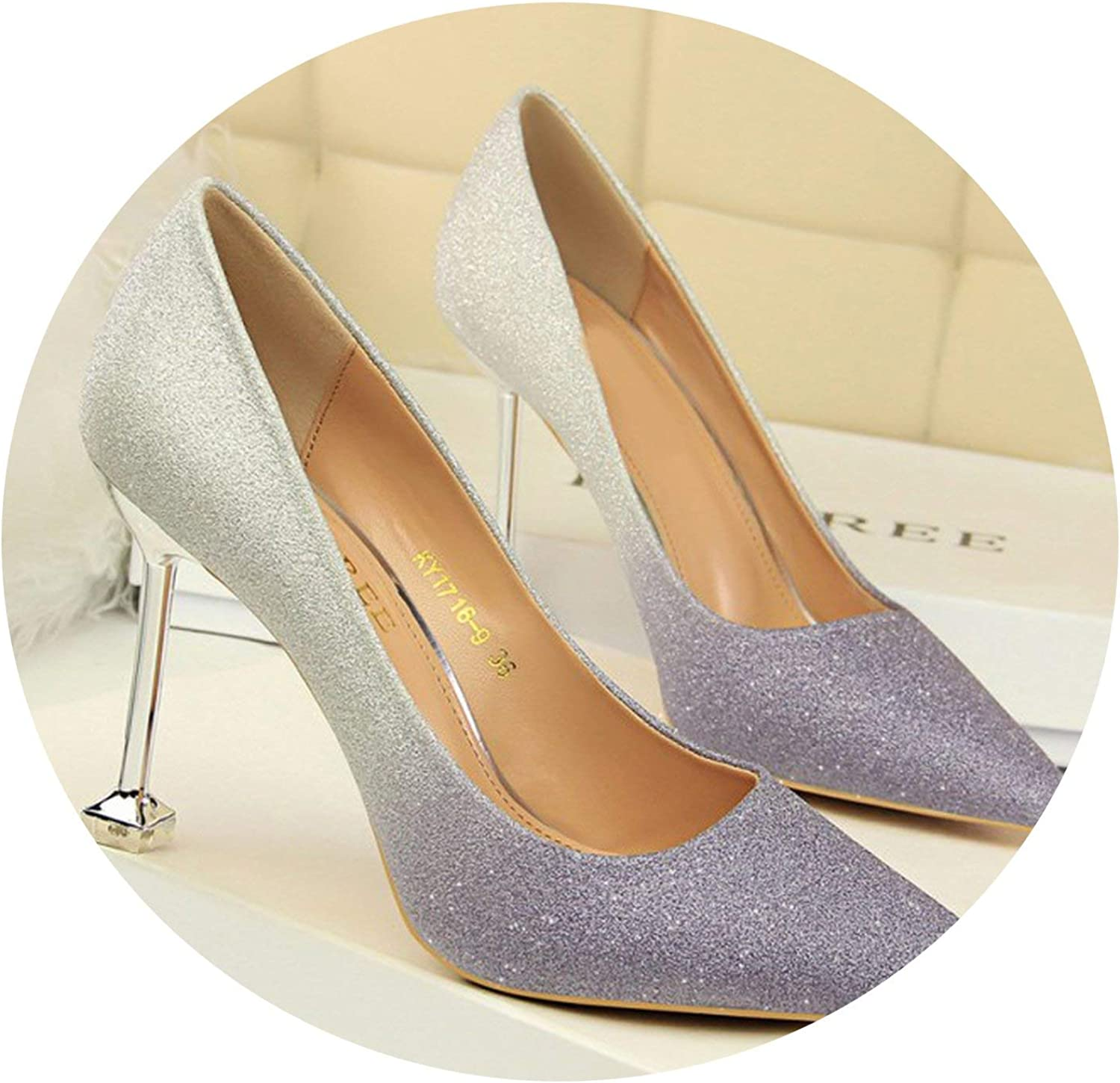 Mr Z Waroom Pointed Toe Women's High Heels shoes Fashion Bling Gradient Sexy Thin Heels Shallow Pumps shoes Wedding Party