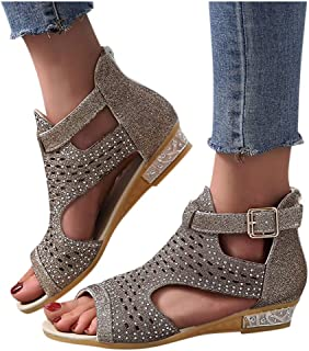 MITCOWBOYS Summer Sandals for Women Casual Peep Toe Ankle Strapes Wedges Shoes Casual Cut Out Walking Sandals