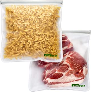 Envirogen Reusable Storage Bags (Gallon Sized 2 Pack - Leakproof) for Food | Extra Thick | Resealable | Freezer | Marinate Meats | Fruit | Cereal | Travel Items | Meal Prep