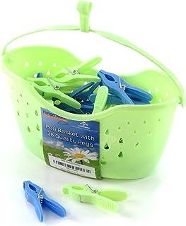 comprar comparacion Hangerworld 36 Pinzas de Plástico y Cesto con Gancho para Colgar del Tendedero o Cuerda de Tender