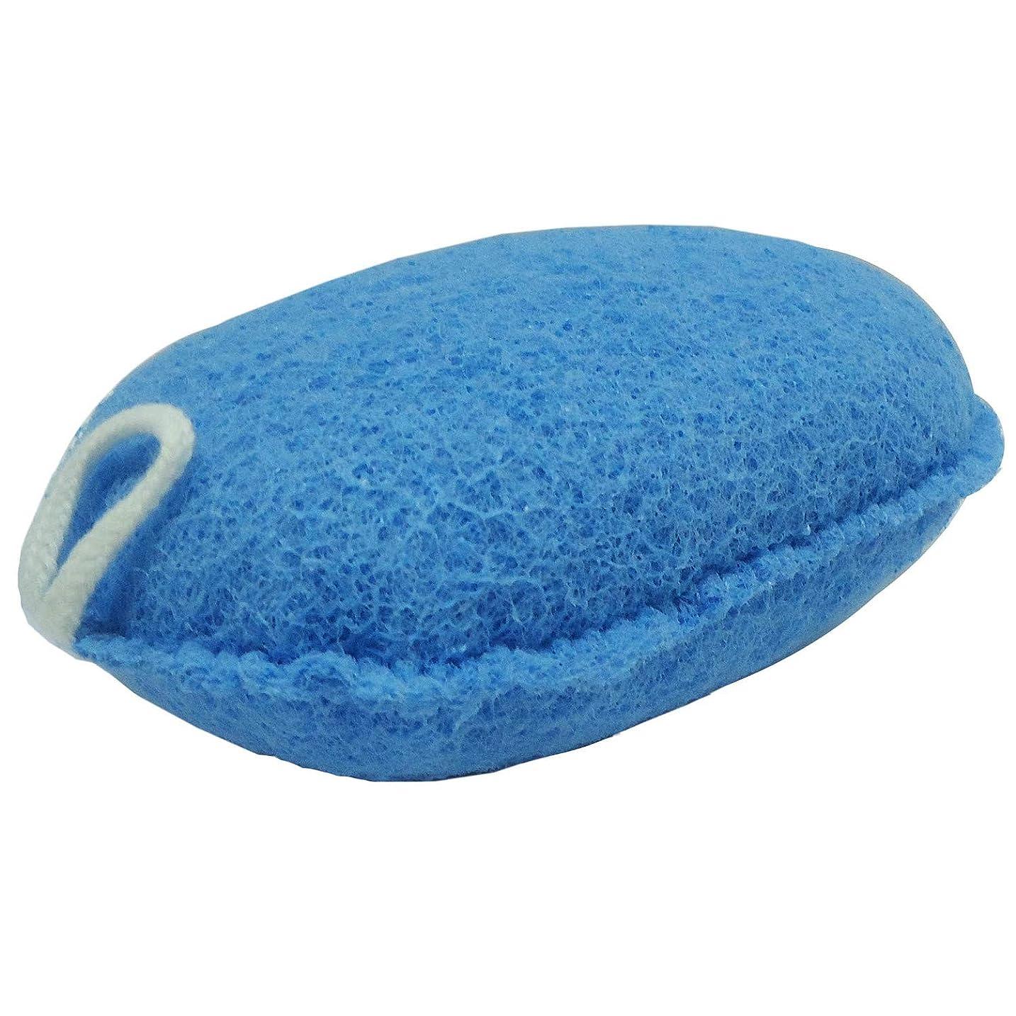 有罪インテリア時制オーエ ボディスポンジ ブルー 約縦14.5×横9.5×奥行5cm nf ヘチマボール 体洗い 泡立ち
