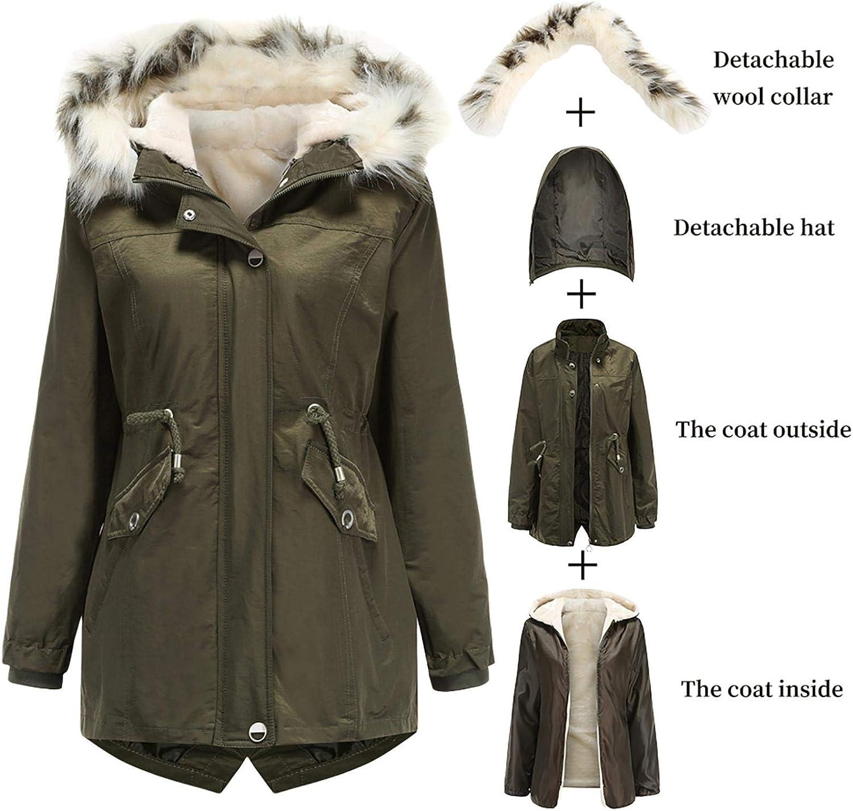 Grizy Damen Abnehmbarer Winter Atmungsaktiv Daunenmantel, Winddicht Mantel Winterparka Casual Mantel Jacke mit Kapuze, Warm Plus Fleece Cotton Coat Armeegrün