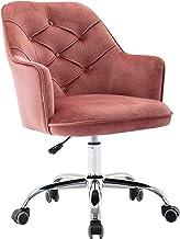 Velvet Office Chair Modern Velvet Swivel Desk Chair Height Adjustable Armchair (Pink)