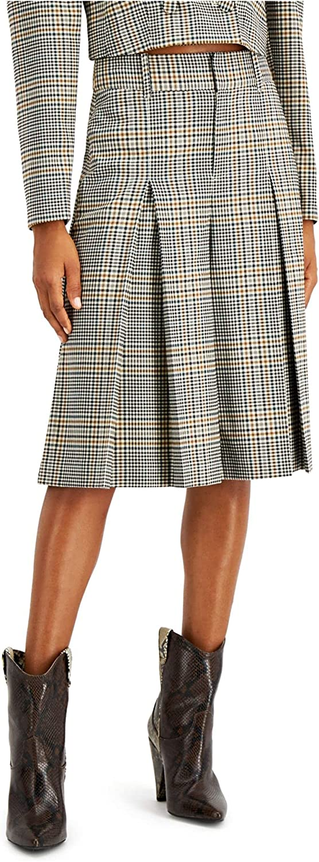 INC Womens Beige Zippered Plaid Below The Knee Pleated Wear to Work Skirt Size 8