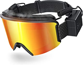 Ski Goggles with Heated Graphene Anti-Fog Lens Charged Snow Sport Goggles Far Infrared Over-Glasses Double Lenses Helmet f...