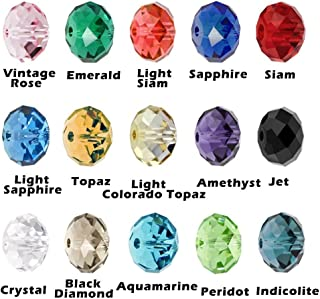 Bingcute Wholesale 6mm Crystal Faceted #5040 Briollete Rondelle Crystal Glass Beads for Jewelry Making Findings Include Plastic Container Box (750pcs) (6MM)
