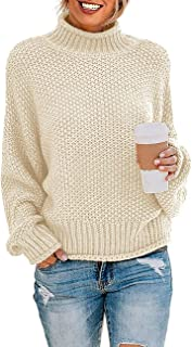 Women's Turtleneck Batwing Sleeve Loose Oversized Chunky...