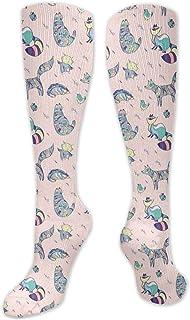 JONINOT, Manga de compresión de rodilla de 60 cm, Doodle ornamentales animales tropicales cocodrilo ratón pájaros gato búho niños ilustración, medias altas