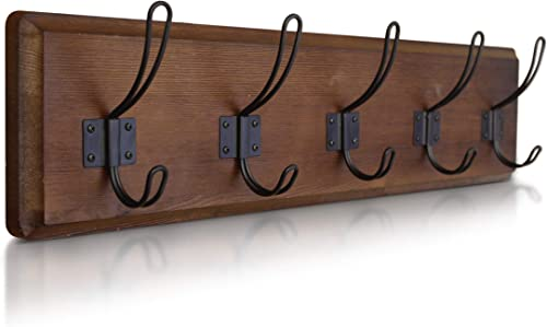 "HBCY Creations Rustic Coat Rack - Wall Mounted Wooden 24"" Entryway Coat Hooks - 5 Rustic Hooks, Solid Pine Wood. Perf..."