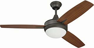 Craftmade 3 Blade Ceiling Fan with Dimmable LED Light and Wall Control TG48ESP3 Targas 48 Inch Bedroom Fan, Espresso