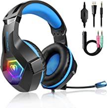 Gaming Headset for PS4, 2019 Latest Ultra Light Professional Gaming Headset, Stereo Surround with Noise Cancelling Soft Microphone RGB Multicolor Lighting, 3.5mm Jack for PS4 Xbox One PC Laptop iPad