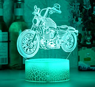 Paesteffe Cool Motorcycle 3D Night Light for Kids Bedroom Decor, Led Illusion Lamp for Room Decor & Nursery, Girls Birthda...
