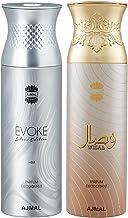 Ajmal Evoke & Wisal Deodorant Spray For Men & Women 200ml each (Pack of 2, 400ml) + 2 Parfum Testers Free