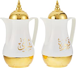 Royalford Royal Gold Vacuum Flask, 1 + 1 Litre, RF9253, 2 Pieces