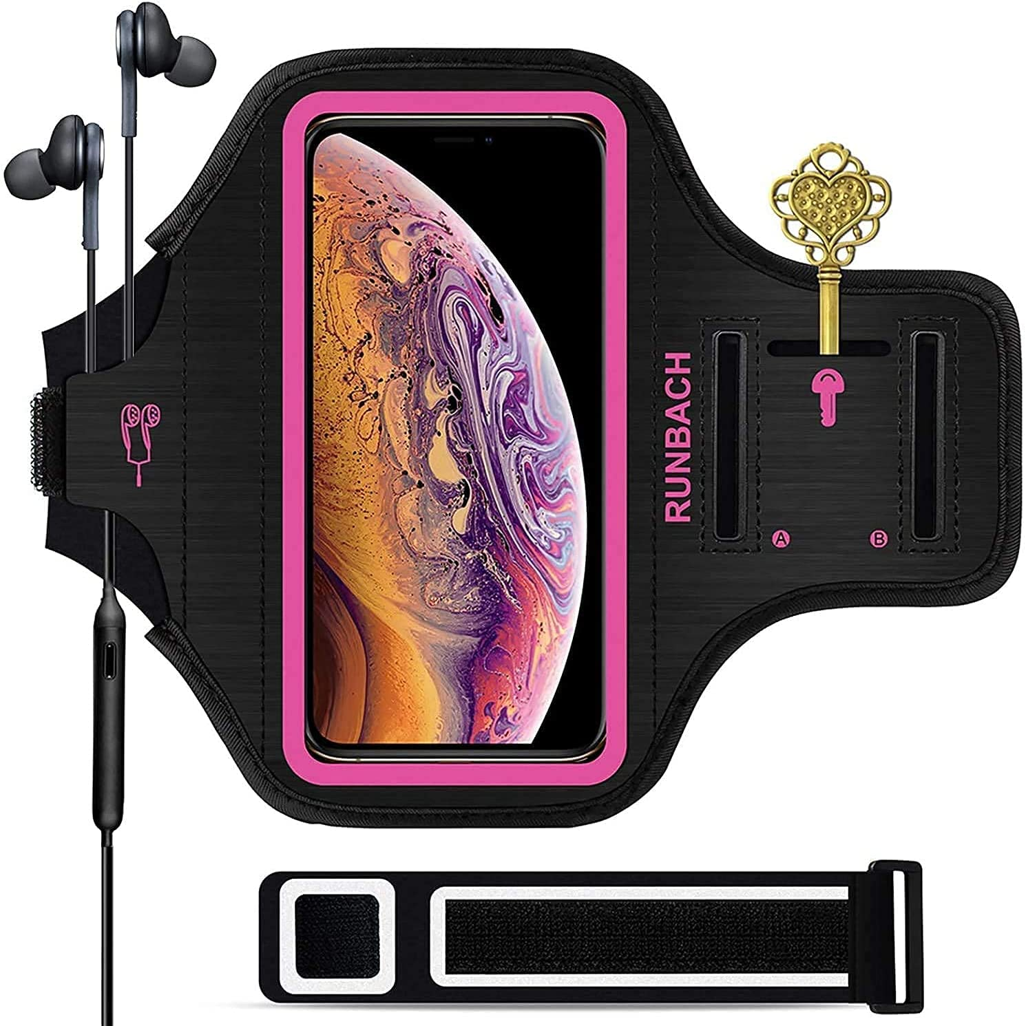 RUNBACH Armband for iPhone 12 Pro/12/11/XR,Sweatproof Running Exercise Bag with Fingerprint Touch and Card Slot for 6.1 Inch iPhone 12,12 Pro,iPhone 11,iPhone XR(Pink)
