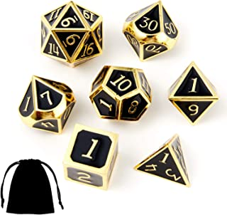 DND Polyhedral Metal Dice Set D&D 7pcs with Storage Bag for Dungeons and Dragons RPG MTG Table Games Pathfinder Shadowrun-Black with Gold Number