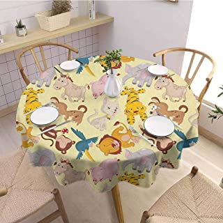 Nursery Oil Resistant and Durable Round Table Cover Cartoon Animals Jungle Themed Design Monkey Pig Tiger Elephant Lion Horse Sparrow Kitchen Available D47 Inch Round Multicolor