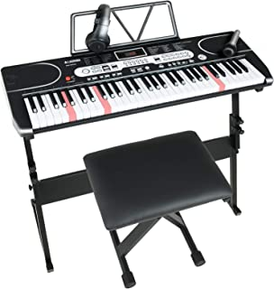 $129 » LAGRIMA LAG-760 61 Key Electric Keyboard Piano with Stand, Light Up Keys for Beginner, Lighted Portable Keyboard w/Bag, Mi...