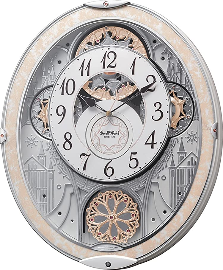 刺繍第四パフリズム時計工業 置き時計?掛け時計 白 45.7x37.9x8.5cm 掛け時計 電波 アナログ からくり 48曲 メロディ 8MN407RH03