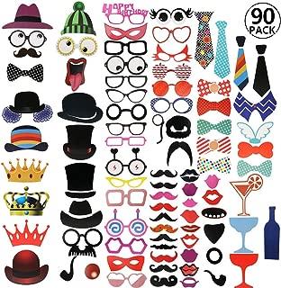 RYMALL Nuevo Estilo Photo Booth Atrezzo Favorecer Incluyendo cómica divertida creativa Bigotes Gafas Pelo Arcos Sombreros labios para el partido boda cumpleaños del favor de la graduación 90 pcs
