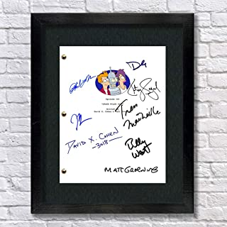 Futurama TV Cast Autographed Signed Reprint 8.5x11 Script Framed 13x15 Matt Groening, David Cohen, John DiMaggio, Billy West, Katey Saga, Bender, Philip J Fry
