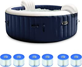 Intex 28429E PureSpa Plus 4 Person Portable Inflatable Hot Tub Spa with 140 Bubble Jets, Headrests, and 6 Type S1 Pool Rep...