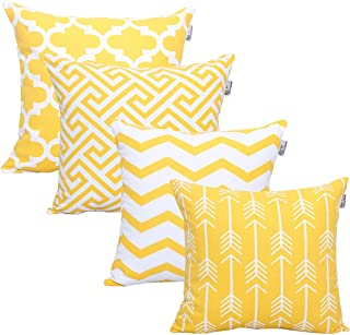 Accent Home Square Printed Cotton Cushion Cover,Throw Pillow Case, Slipover Pillowslip for Home Sofa Couch Chair Back Seat,4pc Pack 18x18