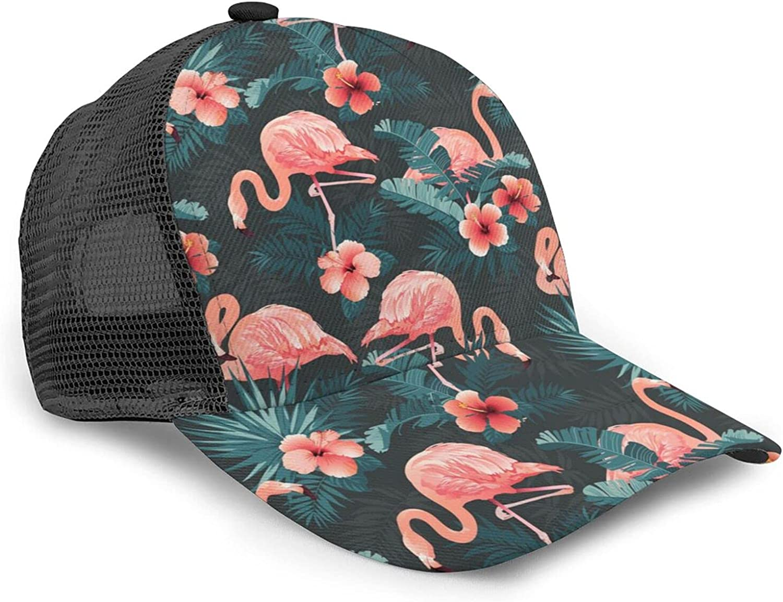 Flamingo Men Women Baseball Caps Messy Adjustable Dad Hat Trucker Ponycap Vintage