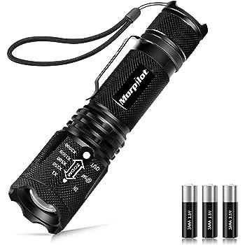 Linterna Táctica y UV 2 en 1, Linterna LED 500LM, Linterna Militar, Luz UV con 4 Modos, Zoom IN/OUT, 395nm, Aluminio, Anti-caída, Impermeable IPX4, 3 Baterías Incluidas