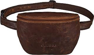"""STILORD Jules"""" Gürteltasche Leder klein Vintage Bauchtasche Reisetasche für Herren Damen Hüfttasche für Party Festival Konzert und Handy, Farbe:antik - braun"""