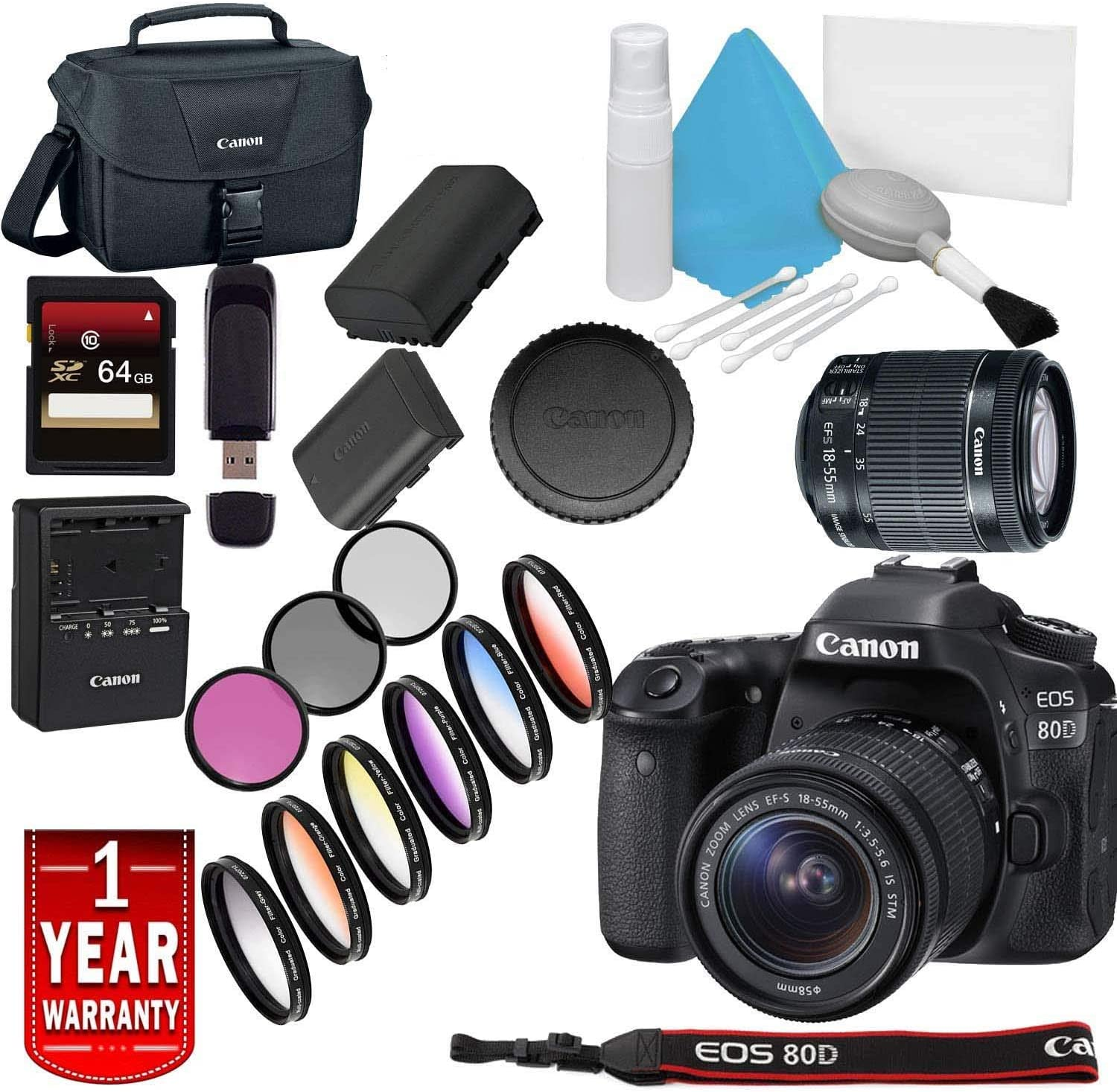 Canon EOS 80D OFFicial Free shipping DSLR Camera with Model Lens Warra 18-55mm USA
