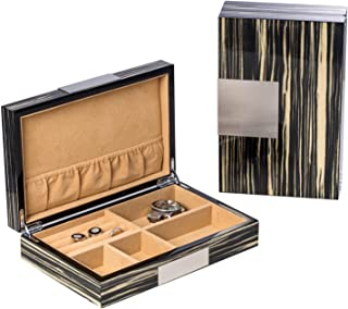 KensingtonRow Home Collection MENS GIFTS -ZEBRA LACQUERED WOOD VALET BOX - JEWELRY BOX - WATCH BOX