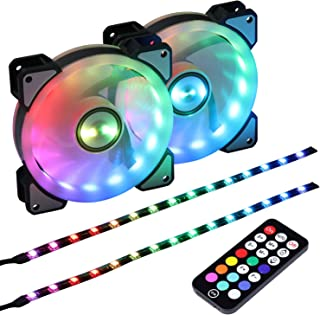 LEDdess 1800RPM Rainbow LED Case Fan with Controller for CPU Cooler, Water Cooling System and Radiators(2pcs RGB Fans, 2pcs led Strips, 3rd Gen Remote Control, A Series)