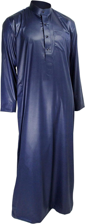Hijaz Blue Formal Fitted Men's Thobe Dishdasha Polished Cotton Luxury Arab Robe - 64