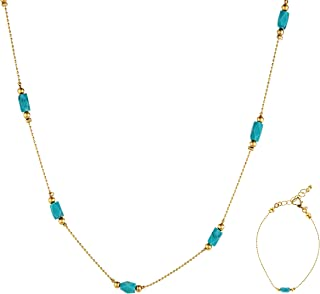 Alwan-Accessories Gold Plated Jewellery Set with Turquoise for Women - EE3540NBT