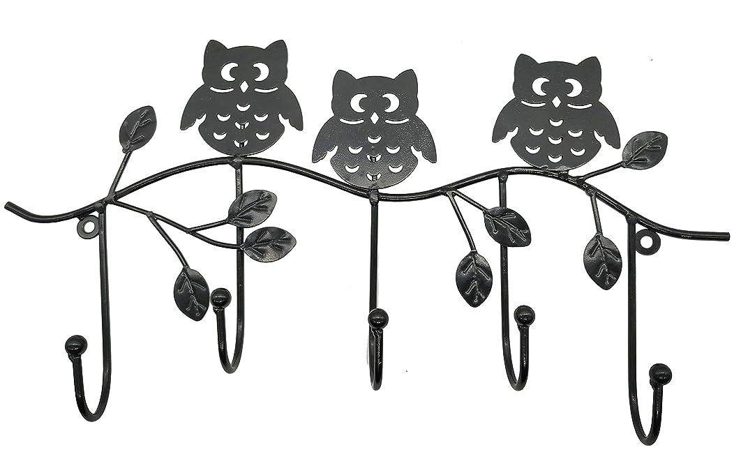 ウェーハ雪だるまを作るカヌーOwlgift 装飾ツリーブランチ&フクロウ 壁掛けメタル5コートフック 衣類/タオルハンガー ストレージラック One Size