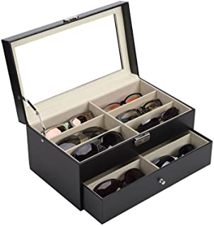 CO-Z Sunglasses Organizer for Women Men, Multiple Eyeglasses Eyewear Display Case, Leather Multi Sunglasses Jewelry Collection Holder with Drawer, Sunglass Glasses Storage Box with 12 Compartments