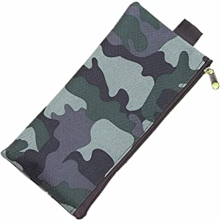 Pencil Case Big Capacity Canvas Pen Bag Camouflage Style Durable Students Pen Pencil Stationery Bag (Brown)