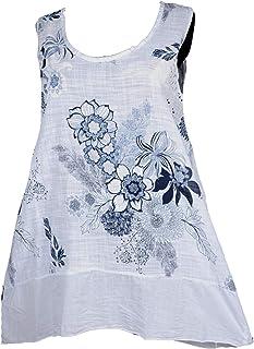 Damen Bluse Tunika Italy Spitze Blumen Trompeten Arm 42 44 46 48 50 52 hell blau