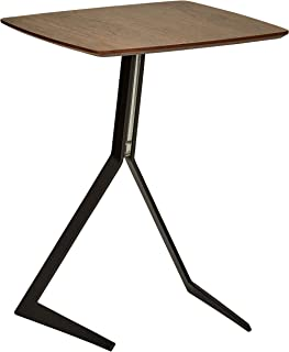 Rivet Industrial Tilted Wood and Metal Side End Table, 17.3
