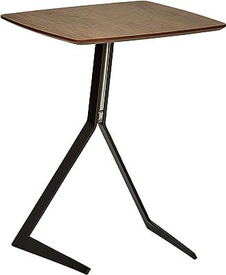 Marque Amazon -Rivet - Petite table d'appoint en bois et métal à pieds inclinés et design industriel, largeur 44cm, Noyer