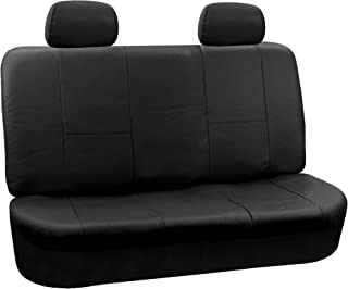 FH Group FH-PU001012 PU Leather Solid Rear Bench Seat Cover, Solid Black Color- Fit Most Car, Truck, SUV, or Van