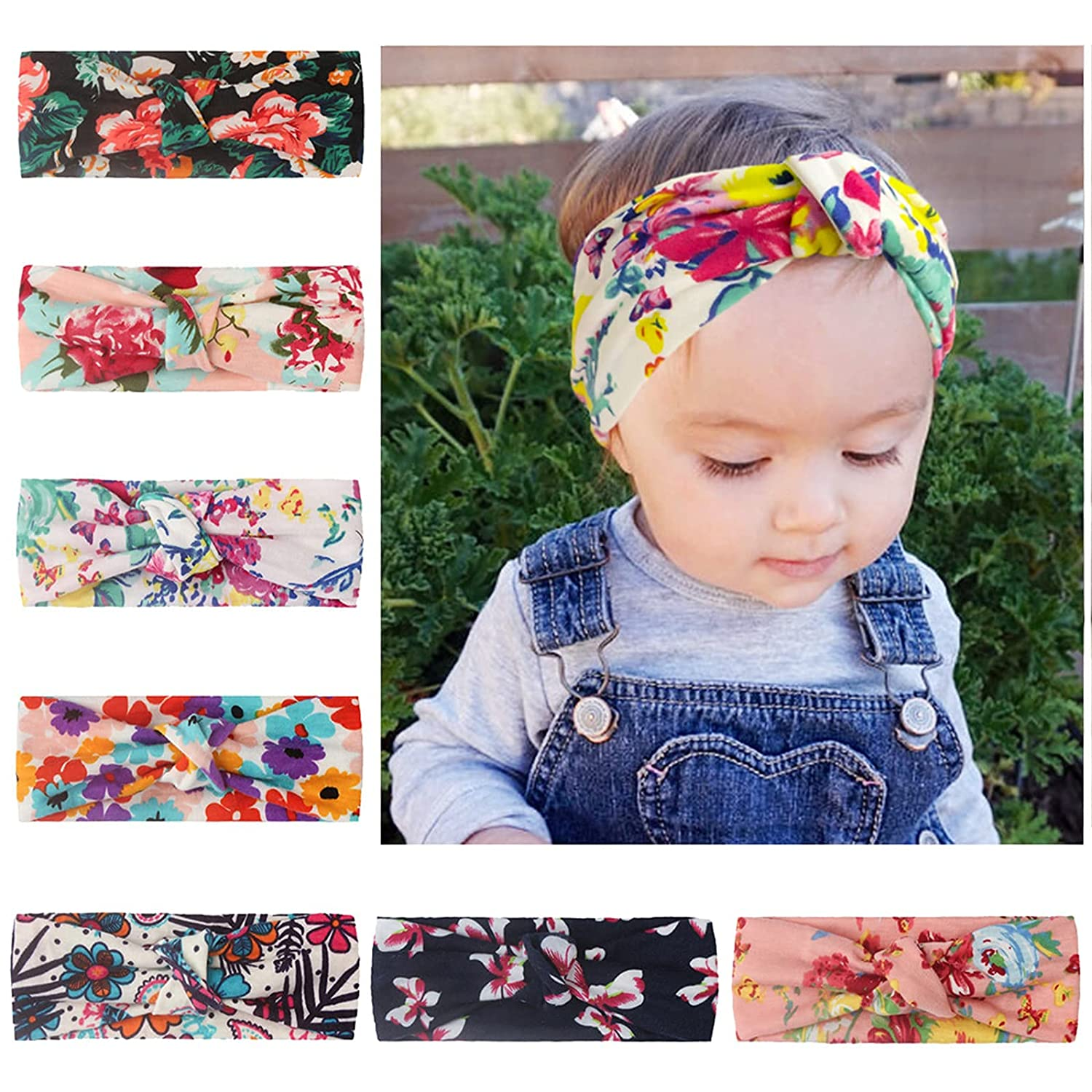 Baby Girl Headbands Turban with Knotted Bows, Hairbands for Newborn,Toddler and Children (D-7PCS)