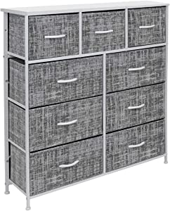Sorbus Dresser with 9 Drawers - Furniture Storage Chest Tower Unit for Bedroom, Hallway, Closet, Office Organization - Steel Frame, Wood Top, Easy Pull Fabric Bins (Gray/White)