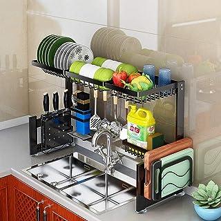 Support de séchage de vaisselle, égouttoir pour les fournitures de cuisine Comptoir de rangement Organisateur Porte-ustens...