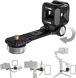 USKEYVISION UVCS-2 3つコールドシューマウント コールドシューブラケットセット 180° 回転可能 カメラ、ジンバル用ブラケットアルミ製カメラマウント 1/4'' フラッシュブラケット マイク ライト照明設定搭載可能OM4/O...