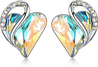 Infinity Love Heart Stud Earrings with Birthstone Crystal...