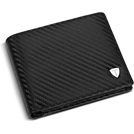 TEEHON® Wallets mens, Leather Wallet, RFID Blocking wallet, Carbon Fibre Bifold Card Holder, Wallets for Men with Coin Pocket, 2 Banknote Compartments, 8 Credit Card Holders, Mens Wallet with Gift Box