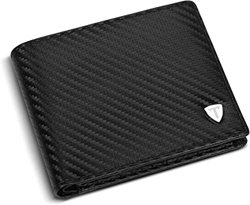 TEEHON® Wallets mens, Leather Wallet, RFID Blocking wallet, Carbon Fibre Bifold Card Holder, Wallets for Men with Coi...
